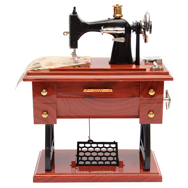 Vintage Treadle Sewing Machine Music Box Antique Gift Musical Education Toys Home Decor Fashion Accessories