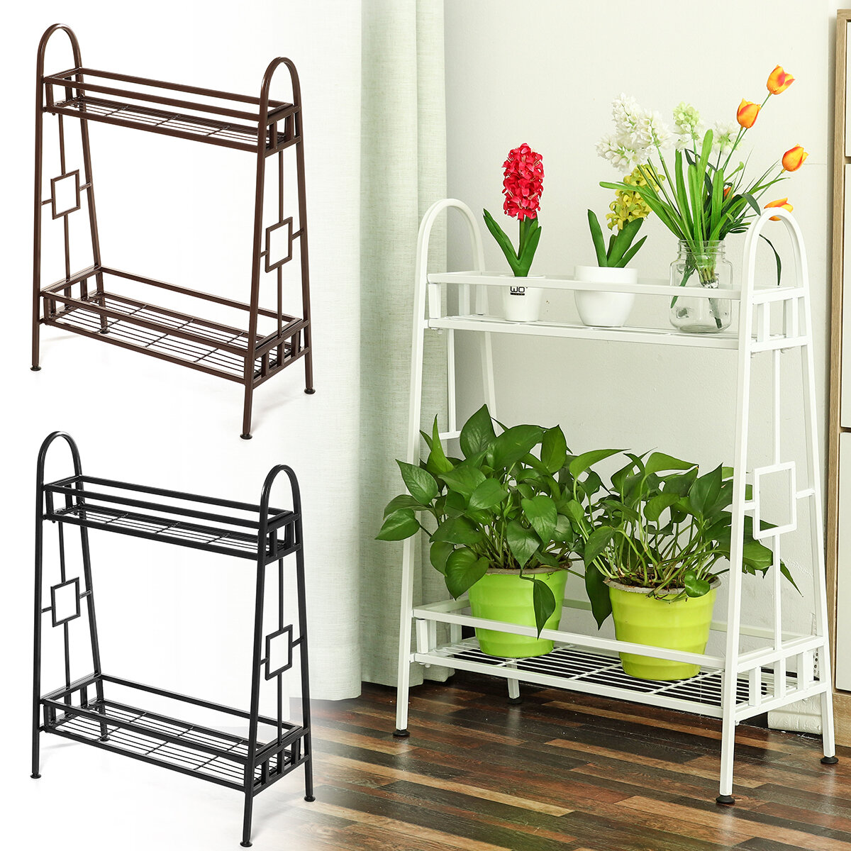 Plants Stand Flower Rack Metal Flower Stand Indoor Plant Shelves Plants Stand Garden Ornaments Indoor Outdoor Sale Banggood Com
