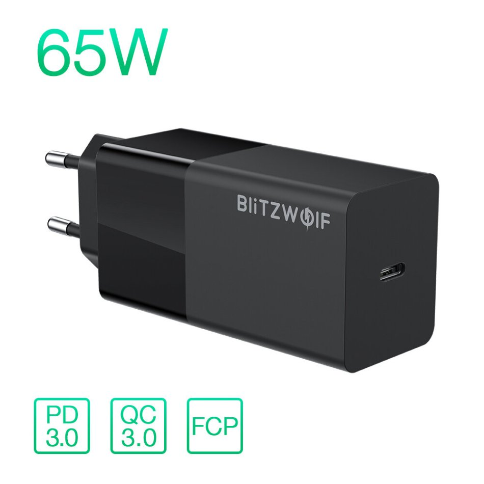 BlitzWolf® BW-S17 65W USB-C Charger PD3.0 Power Delivery Wall Charger With EU Plug Adapter For Smart Phone Tablet Laptop For iPhone 11 SE 2020 For iPad Pro 2020 MacBook Air 2020 Huawei Xiaomi