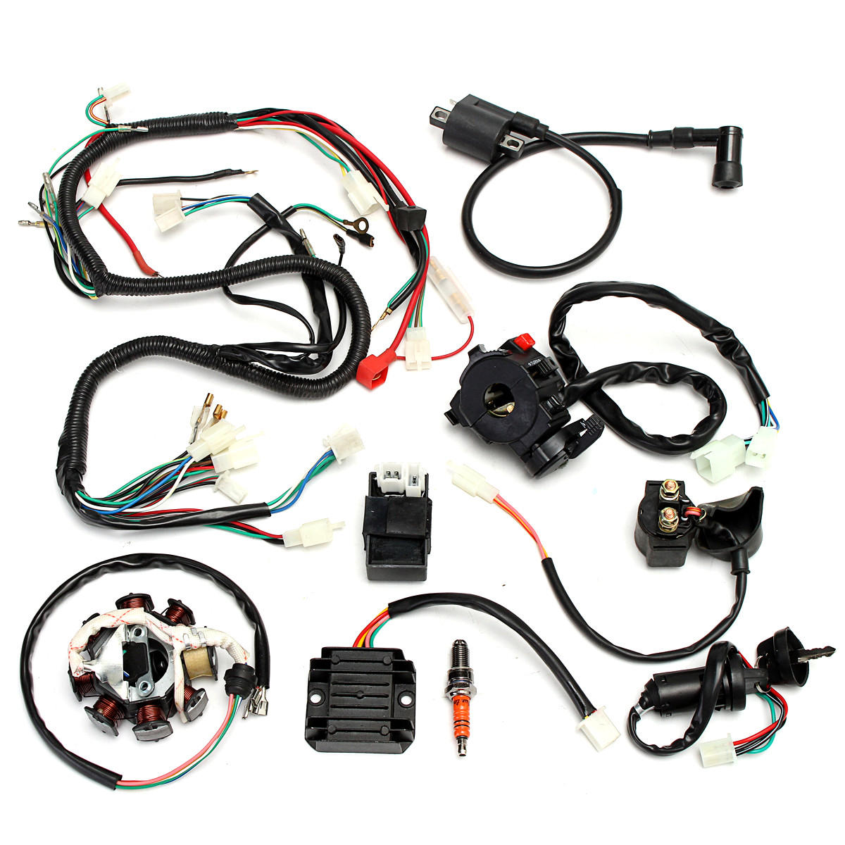 hight resolution of complete electrics wiring harness for chinese dirt bike atv quad 150 250 300cc chinese 125cc wiring harness chinese wiring harness