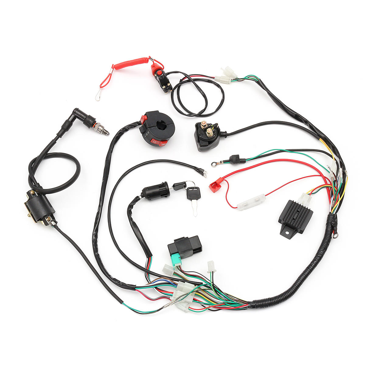 hight resolution of wiring harness loom solenoid coil rectifier cdi 50cc 70cc 110cc 70cc wiring harness