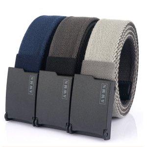 Στα €8.34 από αποθήκη Κίνας | AWMN 200G 125M Metal Free Canvas Casual Belt Adjustable Length Mens Jeans Belt Breathable And Wear Resistant