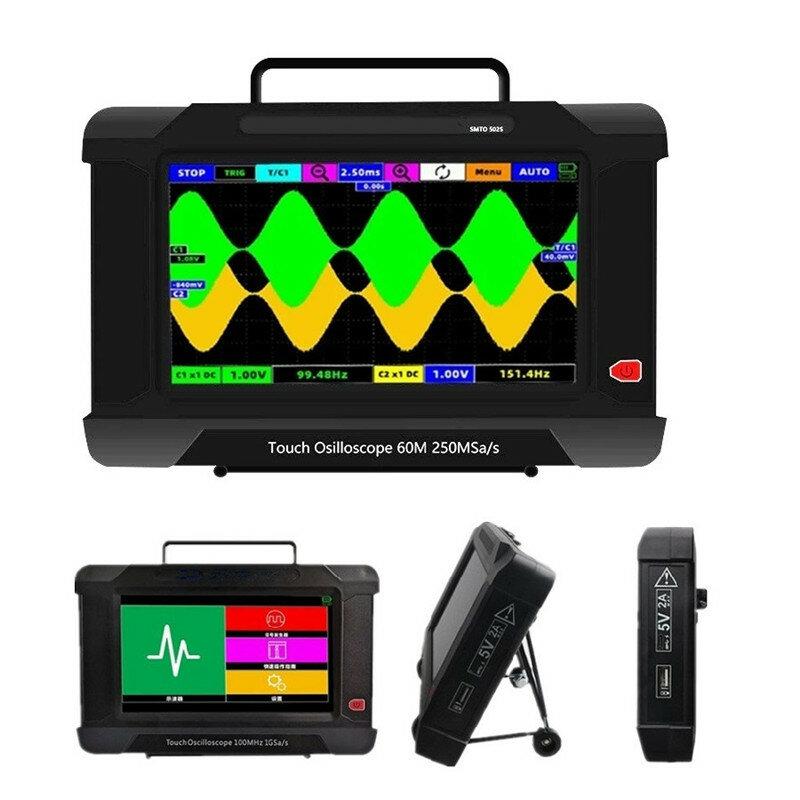 JINHAN SMTO502S 60MHz 250MSa/s Sampling Rate Touch Screen Oscilloscope USB Oscilloscopes 2Channel+ Signal Generator