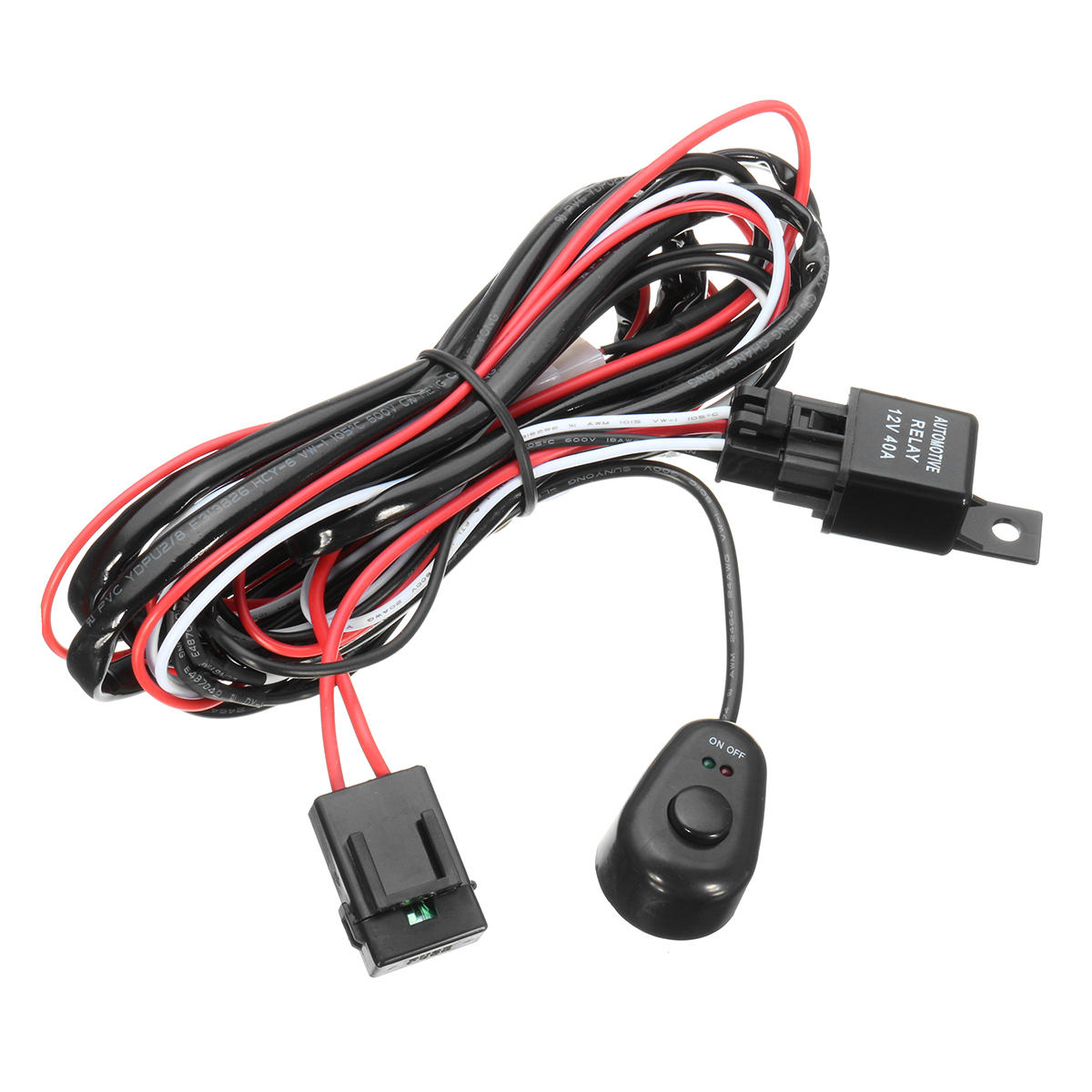 hight resolution of wiring harness kit with relay on off control switch 12v 40a 2m for led drl daytime running light bar cod