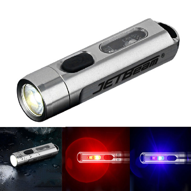 JETBEAM MINI 1 ONE 500LM 5-Colors Multi-purpose EDC Flashlight with UV Light RGB Color Type-C Fast Charging LED Torch
