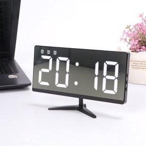 Αποθήκη Τσεχίας   6615 Framless Mirror Clock Touch Control Digital Alarm Clock LED Table Clock Electronic Time Date Temperature Display Office Home Decorations