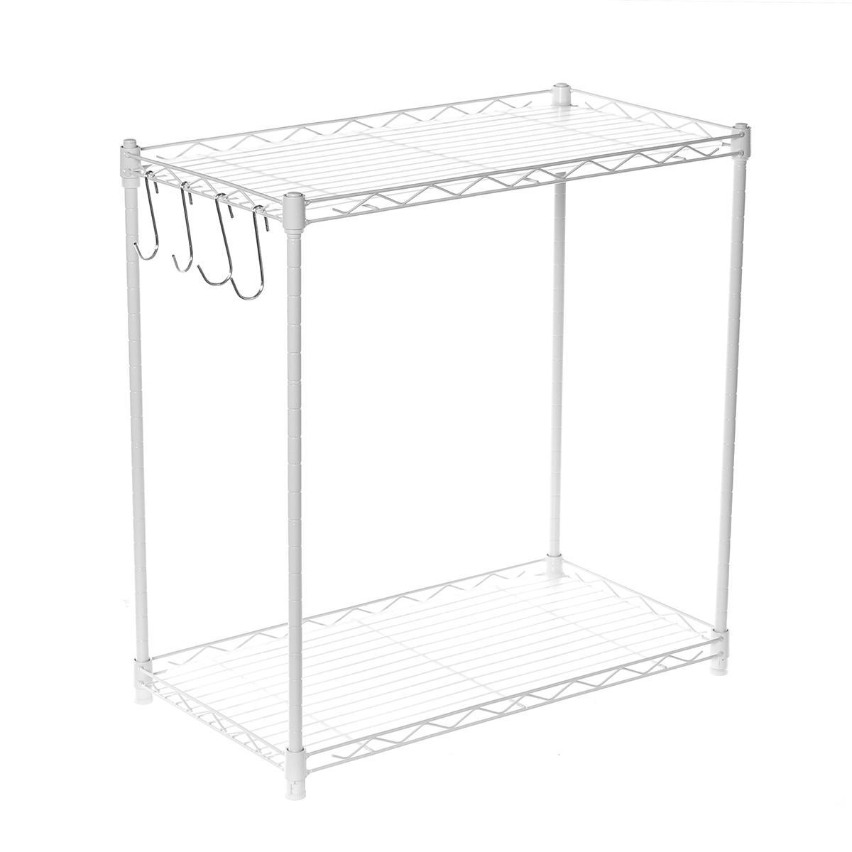 2 tier adjustable steel wire shelving unit metal rack home