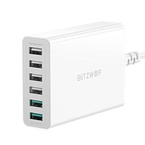 Στα €16.18 από αποθήκη Κίνας | BlitzWolf BW S15 60W 6 Port USB Charger Dual QC3.0 Desktop Charging Station Smart Charger EU AU US Plug Adapter