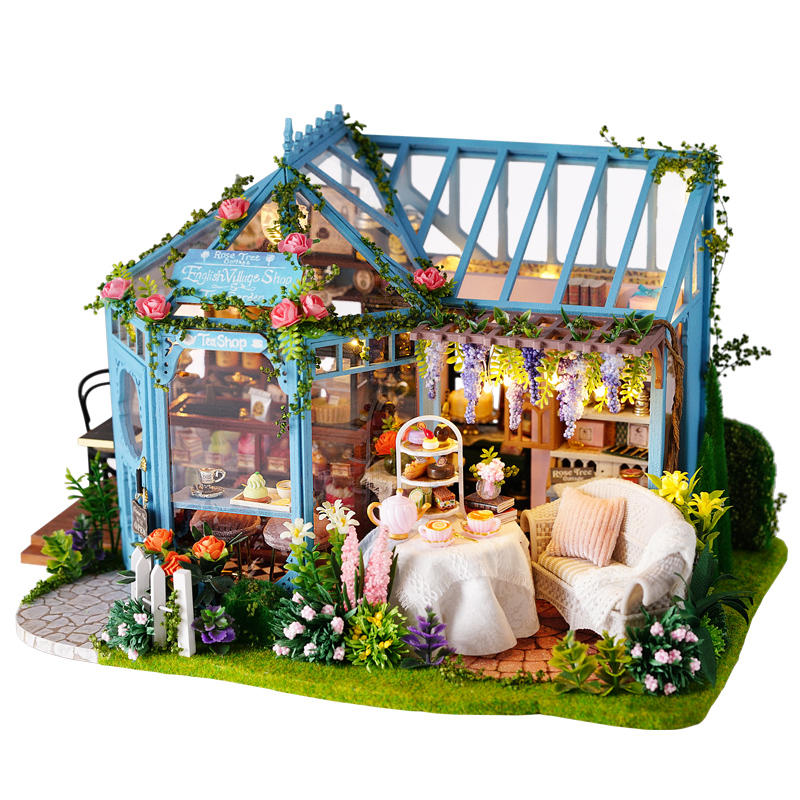 Cuteroom A068 DIY Cabin Rose Garden Tea House Handmade Doll House Model With Dust Cover Music Motor