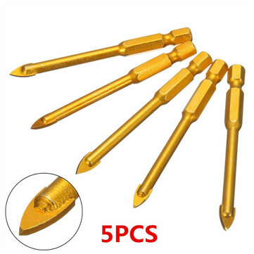 5pcs 6mm hex shank spear point head drill bits set ceramic porcelain marble glass tile drill bits