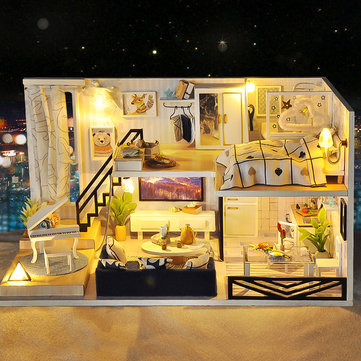 Time Shadow Modern Doll House Miniature DIY Kit Dollhouse With Furniture
