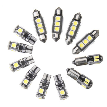 12pcs car interior led lights kit t10 ba9s festoon dome
