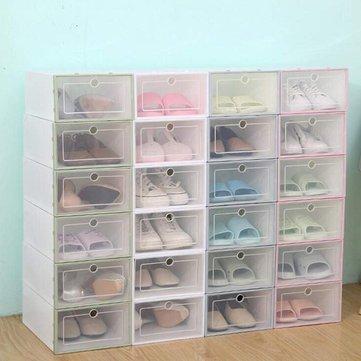 filp cover foldable clear plastic shoe racks boxes storage organizer stackable tidy single box
