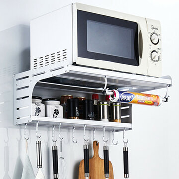aluminum microwave oven wall mount microwave kitchen desktop organizer racks 2 layer oven stand kitchen storage with hooks
