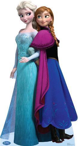 Elsa And Anna Disneys Frozen Lifesize Standup Cardboard Cutouts At Allposters Com