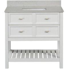 36 Inch Kitchen Sink Drawer Hardware 399 原价 669 Scott Living Canterbury 白色36英寸单槽浴室柜 带镜子 带镜子和水槽 北美省钱快报