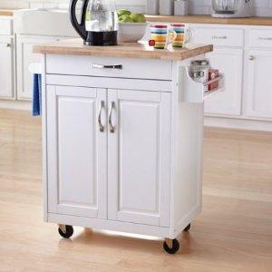 white kitchen island cart cat 99 原价 129 免运费mainstays厨房中岛台 推车 白色或天然木色 北美省