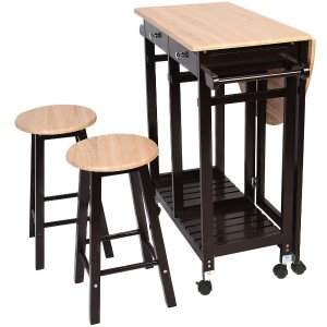 wooden kitchen cart counter height sets costway 木质厨房移动吧台小推车3件套3057690 99 北美省钱快报 木制厨房推车