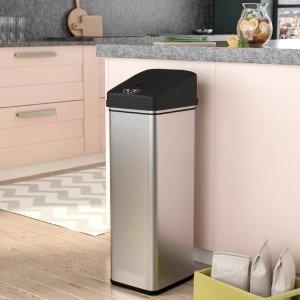 13 gallon kitchen trash can cart home depot ealy 不锈钢电子感应垃圾桶13加仑 北美省钱快报 13加仑厨房垃圾桶