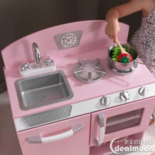retro kids kitchen backsplash in 69 难得超低价kidkraft 仿真厨房儿童玩具粉色 北美省钱快报 产品介绍 超难得的折扣 目前amazon上同款小厨房售价 99 适合3岁以上女孩的粉色复古小厨房 全木制作 带有炉子 微波炉 冰箱 可开关壁橱