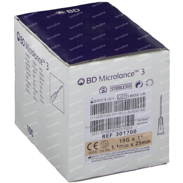 Bd Microlance 3 Needle 19g 1 1.1mm X 25mm 100 Pieces Order