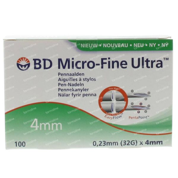 Bd Microfine Ultra Pen Needle 4 Mm 32g Thinwall 100 Pieces