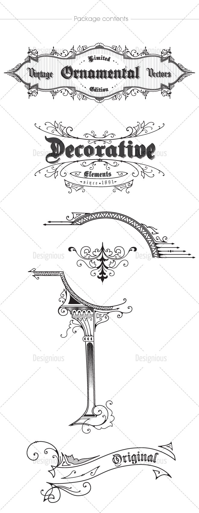 Get 600+ Vector Calligraphic Ornaments & Page Decorations