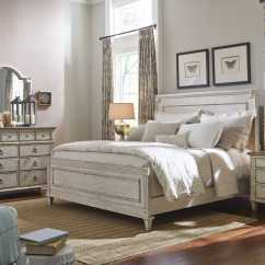 Bedroom Chairs And Ottomans Boondocks Steel Chair Effect American Drew Southbury White Parchment Queen Size Panel Bed   Ad513304r