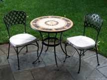 Alfresco Home Compass Wrought Iron Mosaic 3 Piece Bistro
