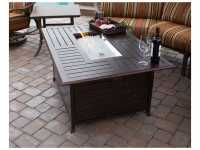 AZ Patio Heaters Rectangular Slatted Aluminum Firepit