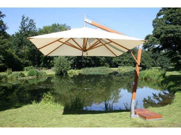 Bambrella Side Wind Wood 11.5' Crank Lift Offset Umbrella B135rsw