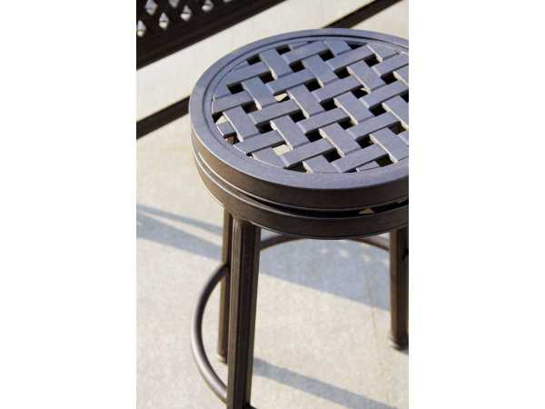 Darlee Outdoor Living Standard Backless Cast Aluminum Antique Bronze Swivel Bar Stool 1210-7