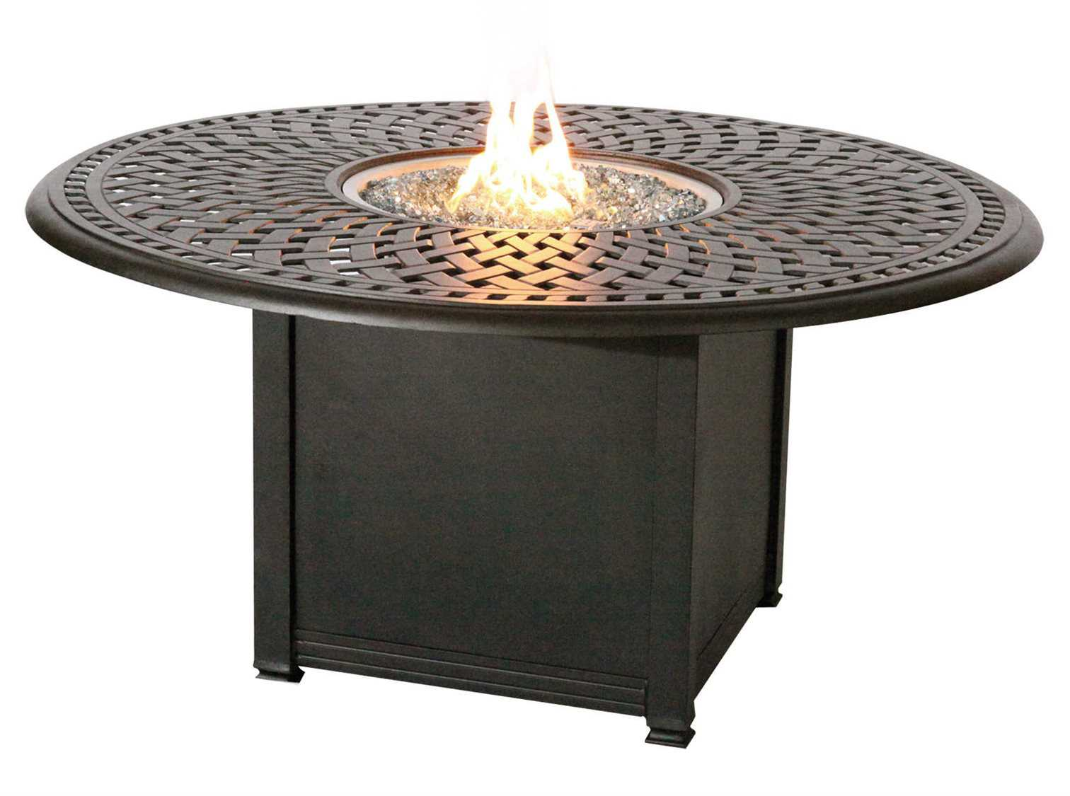 darlee outdoor living series 60 antique bronze cast aluminum 52 round propane fire pit chat table