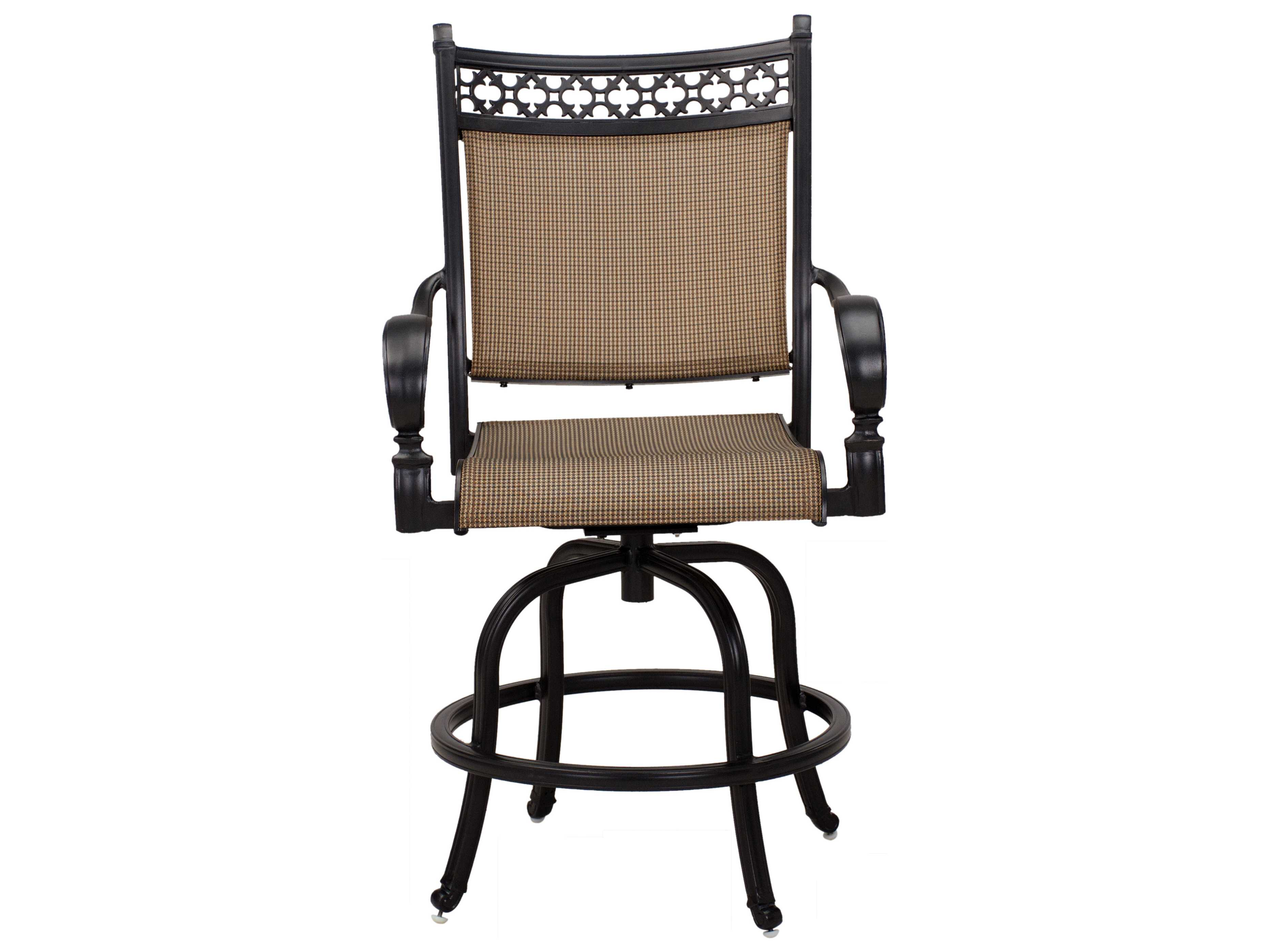 darlee outdoor living mountain view cast aluminum sling counter height swivel bar stool in antique bronze