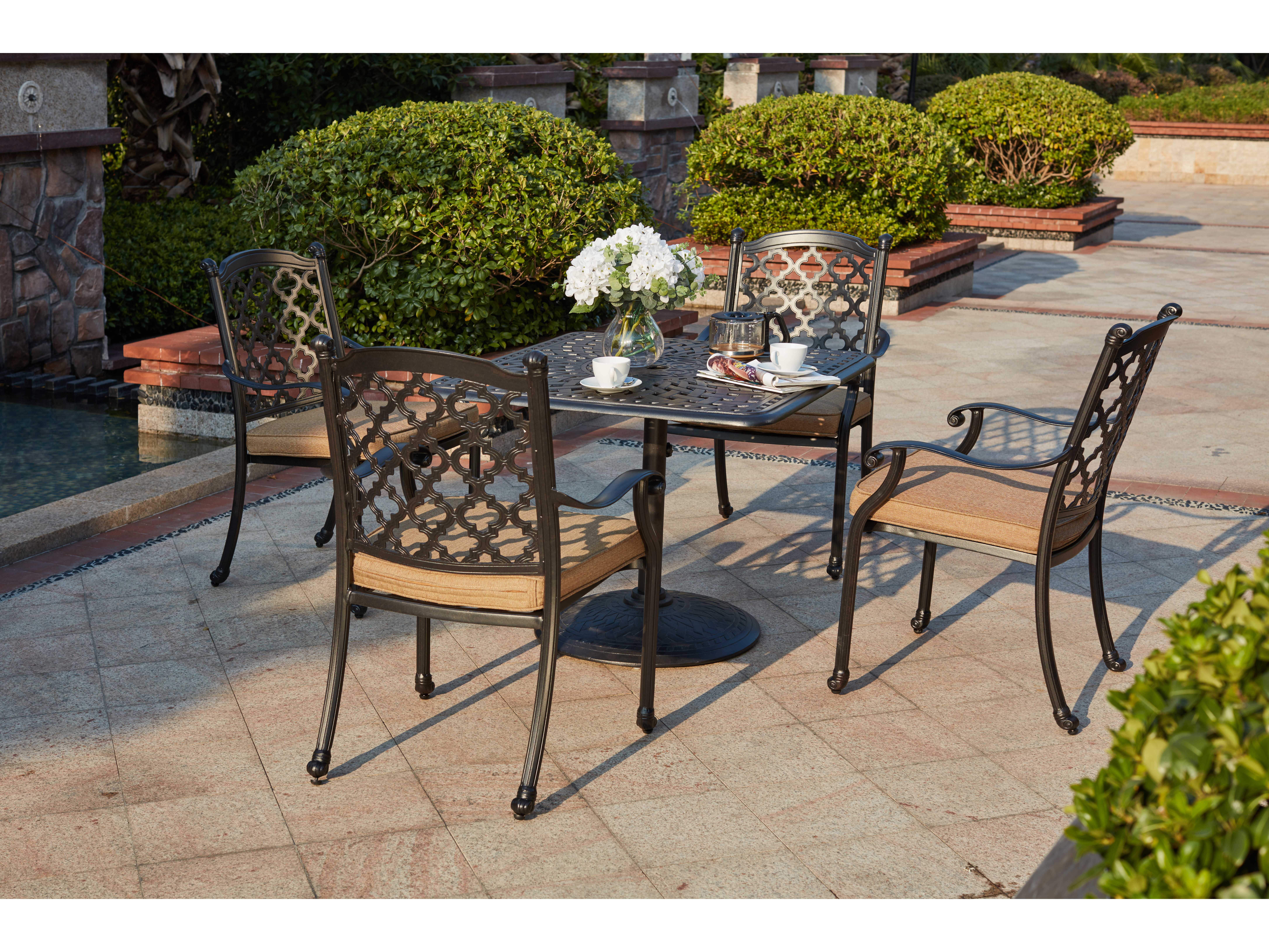 dining sets darlee nassau 5 piece cast aluminum patio dining set with round table patio lawn garden