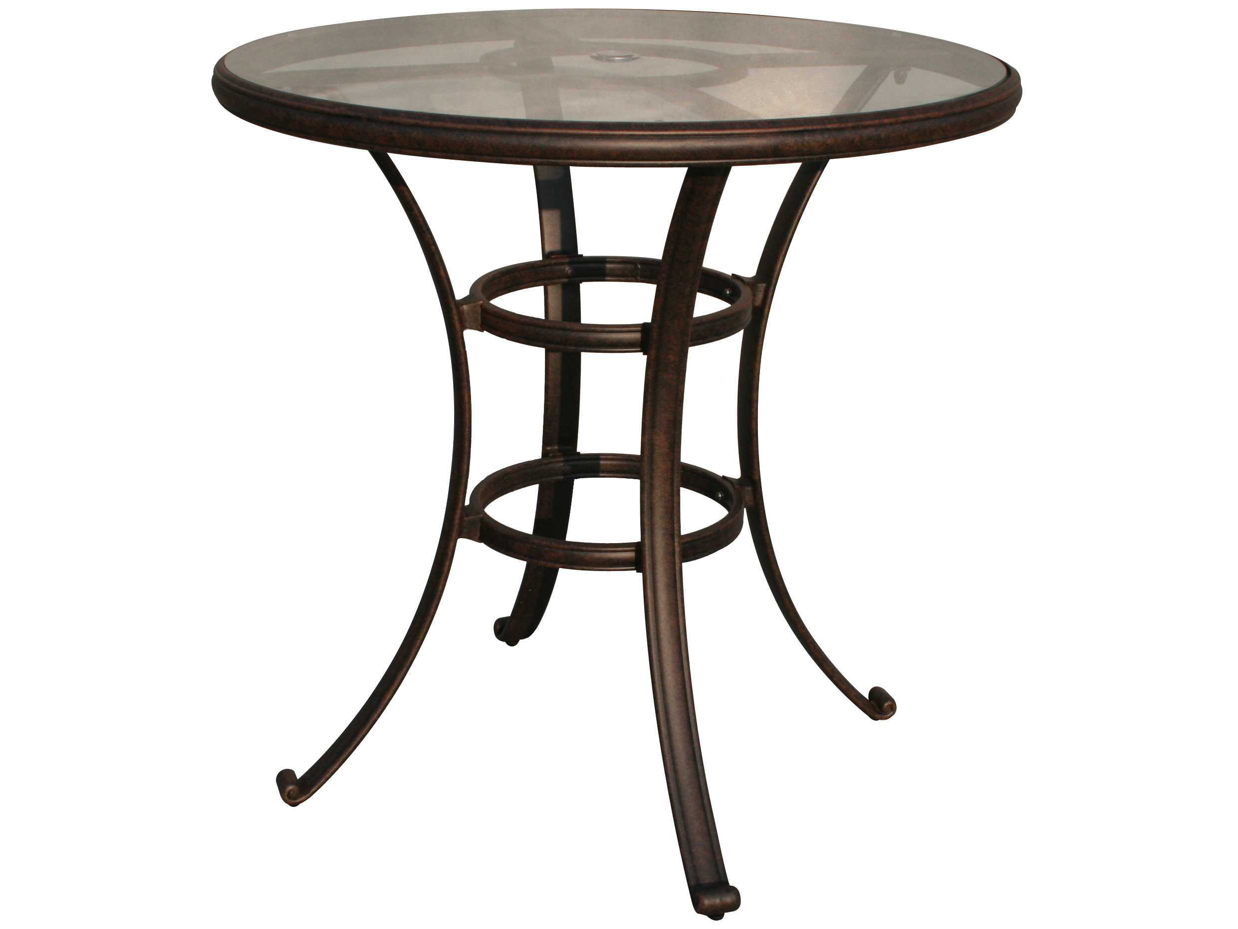 Darlee Outdoor Living Glass Top Cast Aluminum Antique Bronze 42 Round Bar Table  DL50F