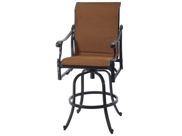 Gensun Michigan Padded Sling Cast Aluminum Swivel Bar Stool 61140007
