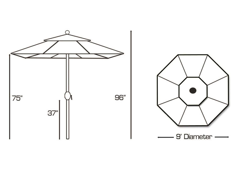 Galtech Aluminum 9 Foot Crank Lift, Manual Tilt Umbrella
