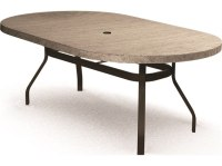 Homecrest Slate Aluminum 72 x 42 Oval Dining Table with ...