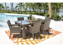 Hospitality Rattan Outdoor Fiji Dark Brown Wicker 7 Piece