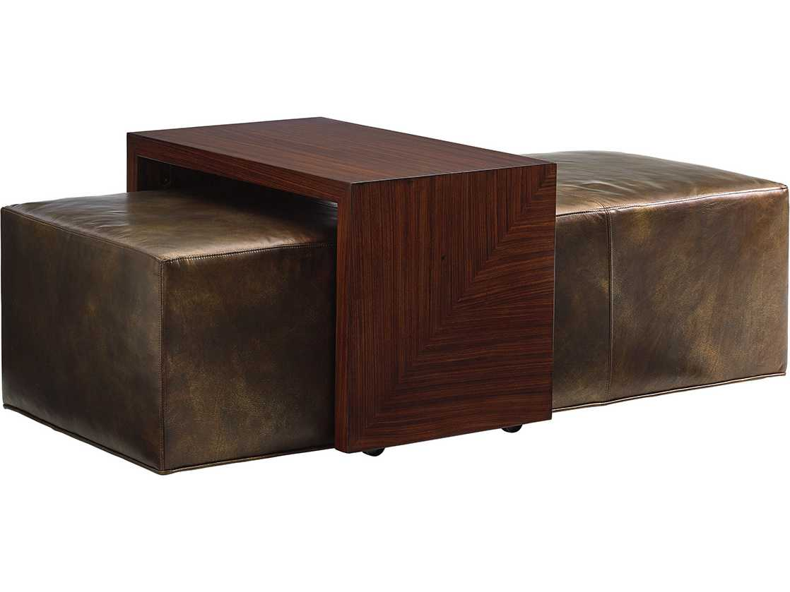 Lexington Take Five Broadway Cocktail Leather Ottoman with