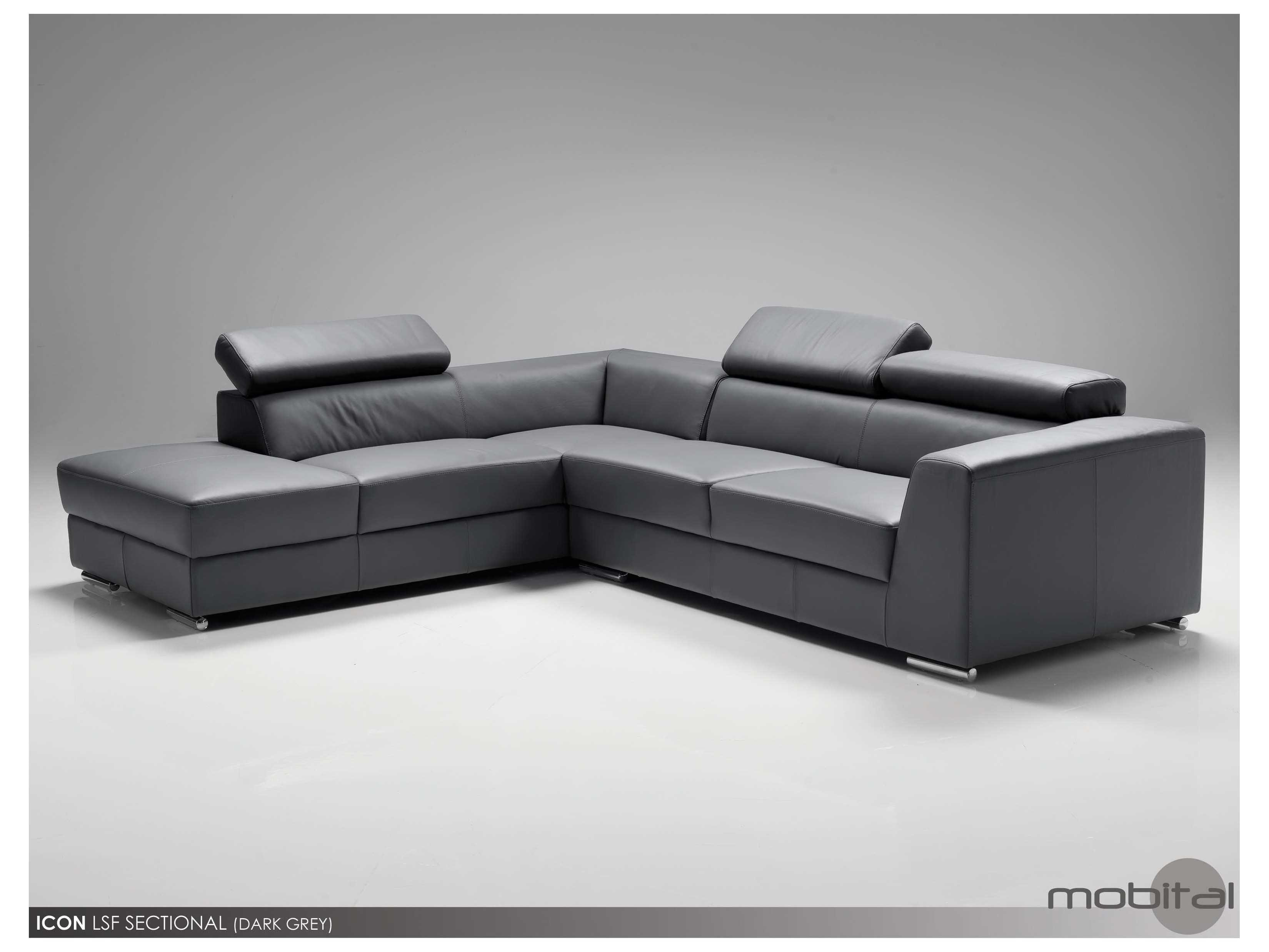 dark grey sectional sofa with chaise stores los angeles mobital icon leather left