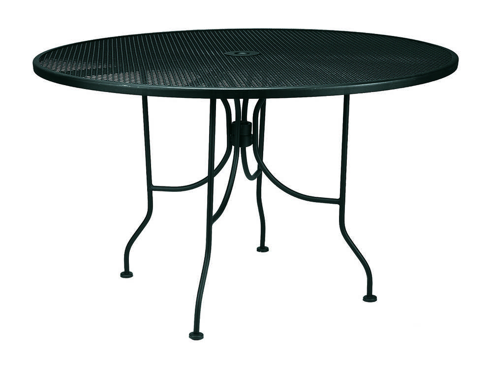 meadowcraft mesh wrought iron 48 wide round dining table with umbrella hole