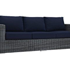Gray Sofa Navy Chairs Mission Style Set Modway Outdoor Summon Wicker In Canvas