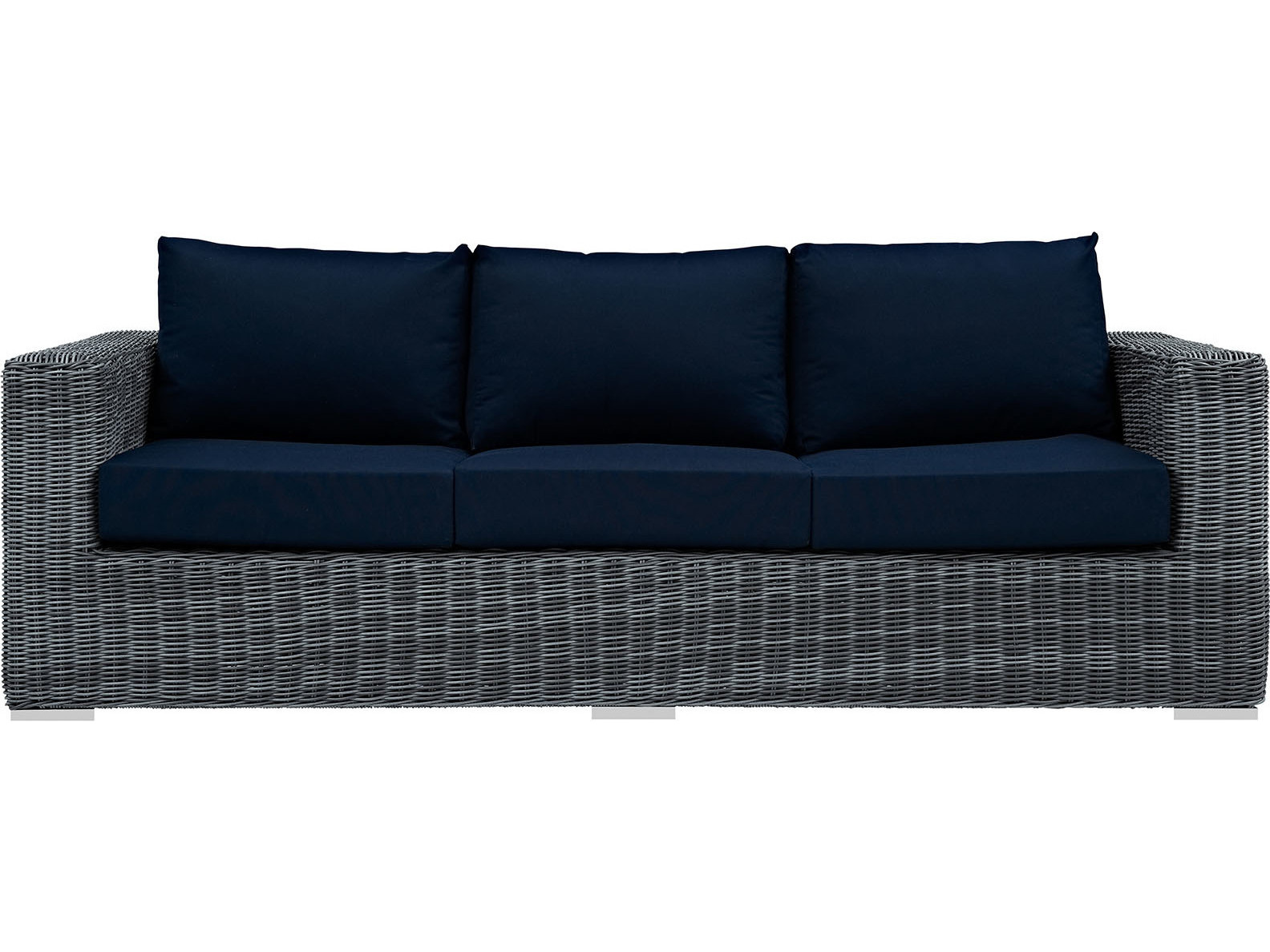 gray sofa navy chairs black fabric sleeper modway outdoor summon wicker in canvas