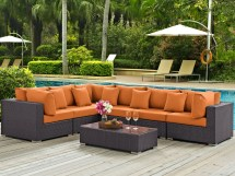 Modway Outdoor Convene Espresso Wicker 7 Piece Sectional
