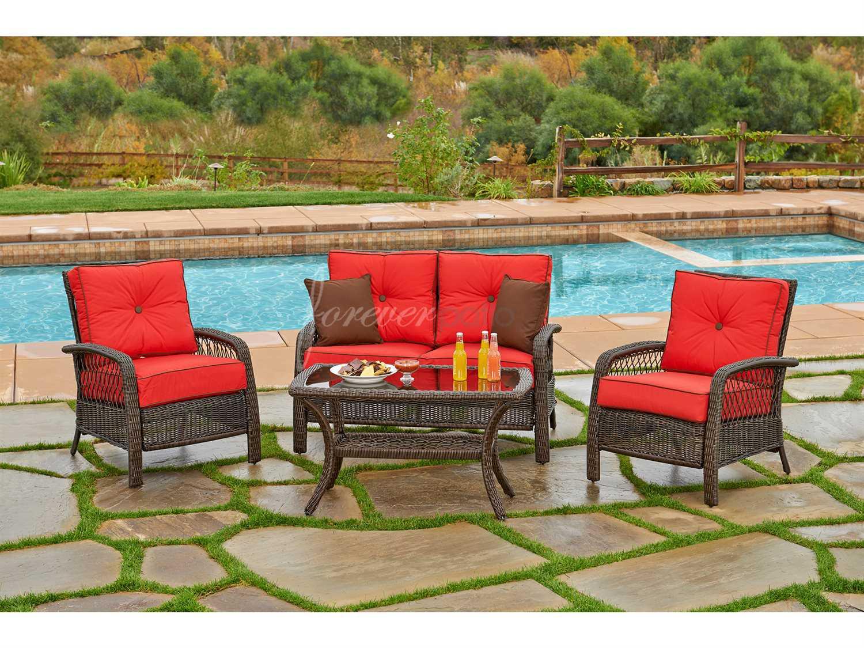 santa monica sofa set lazy boy recliner handle forever patio wicker 4 piece fp sm