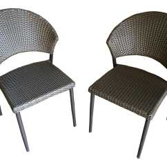 Wicker Patio Chair Set Of 2 Desk Arm Covers Outdoor Greatroom Bistro Dining Side