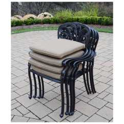 Outdoor Dining Chair Cushions Set Of 4 Light Blue Spandex Covers Oakland Living Hampton Aluminum Stackable