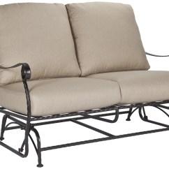 Metal Sofa Glider Brown Leather Three Seater Ow Lee San Cristobal Wrought Iron Two Seat